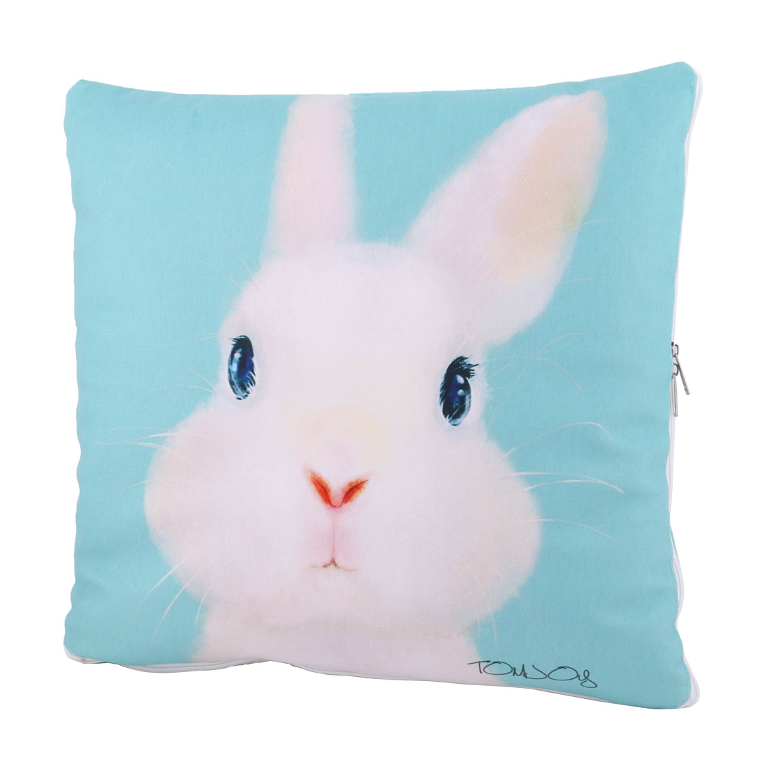 Home Office Car Polyester Rabbit Pattern Multifunction Foldable Pillow Blanket Quilt Cyan