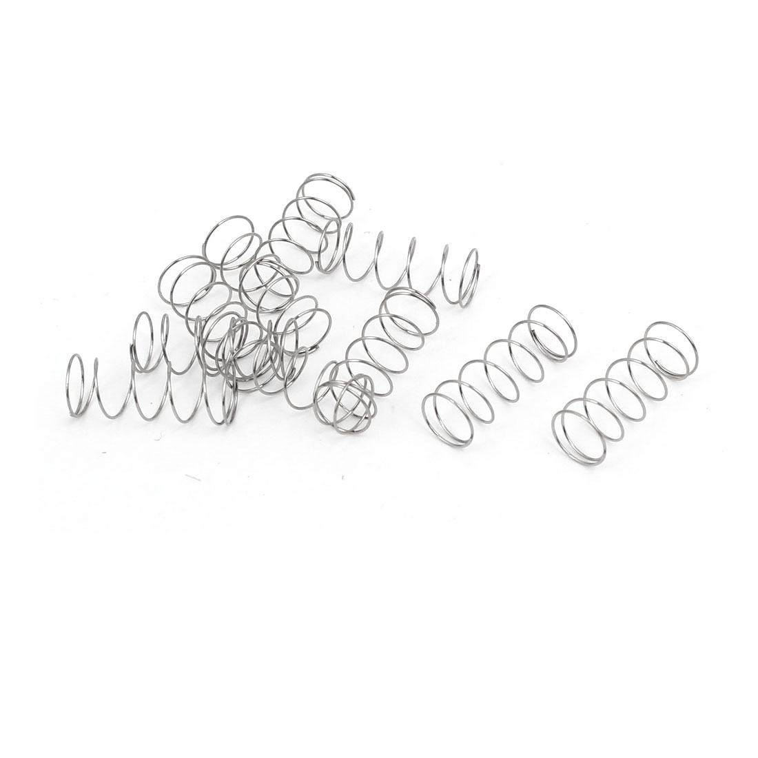 0.3mmx6mmx15mm 304 Stainless Steel Compression Springs Silver Tone 10pcs