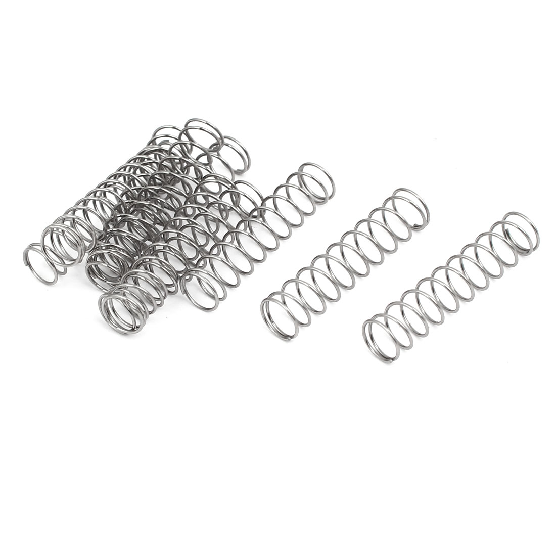 0.6mmx8mmx35mm 304 Stainless Steel Compression Springs Silver Tone 10pcs