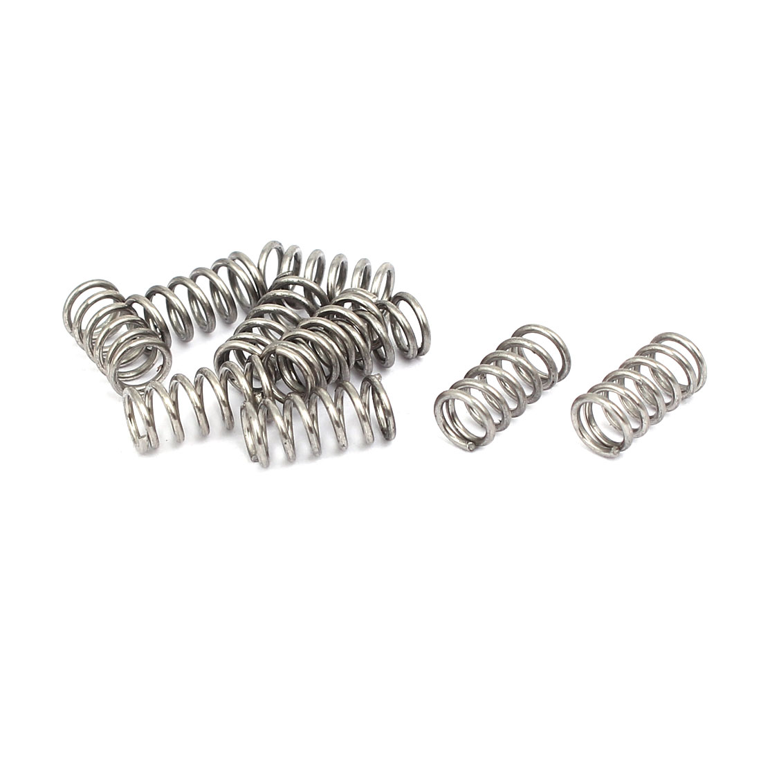 0.7mmx5mmx10mm 304 Stainless Steel Compression Springs Silver Tone 10pcs