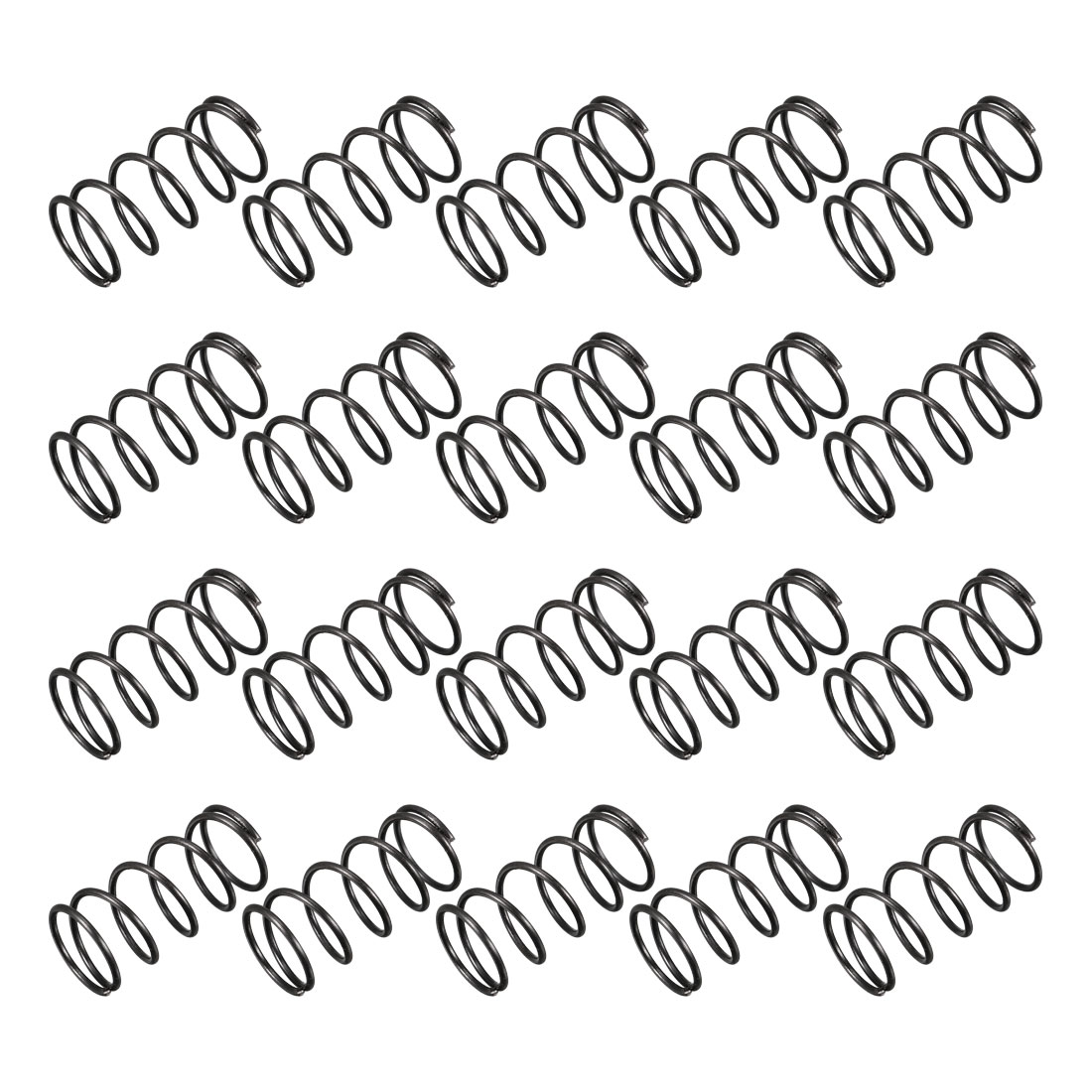 1.2mm Wire Dia 15mm Outer Diameter 30mm Long Compression Springs Black 20pcs