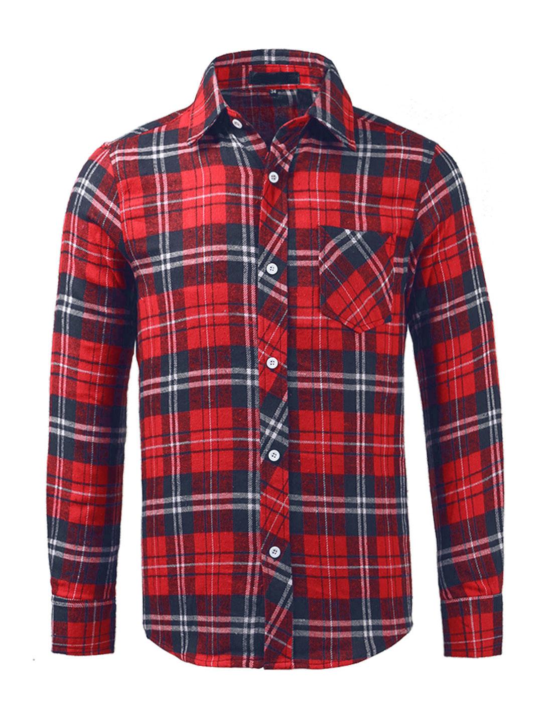 Man Single Breasted Round Hem Chest Pocket Check Print Shirt Red-Blue M