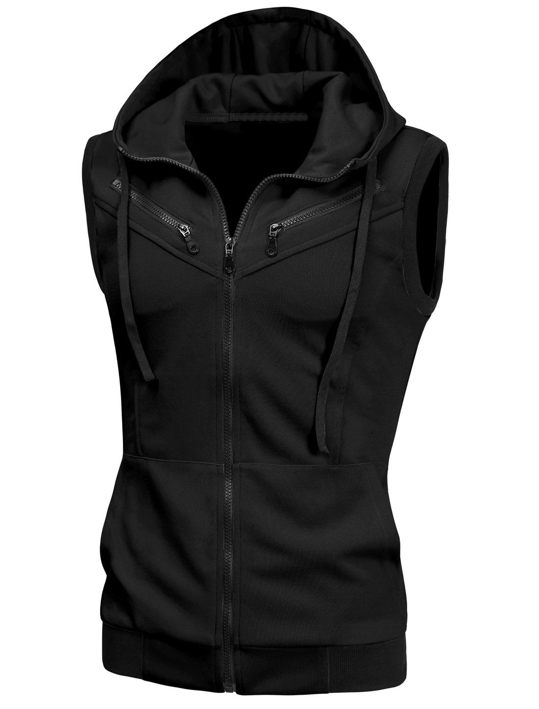 Men Chic Full Zipper Drawstring Hooded Vest Black S