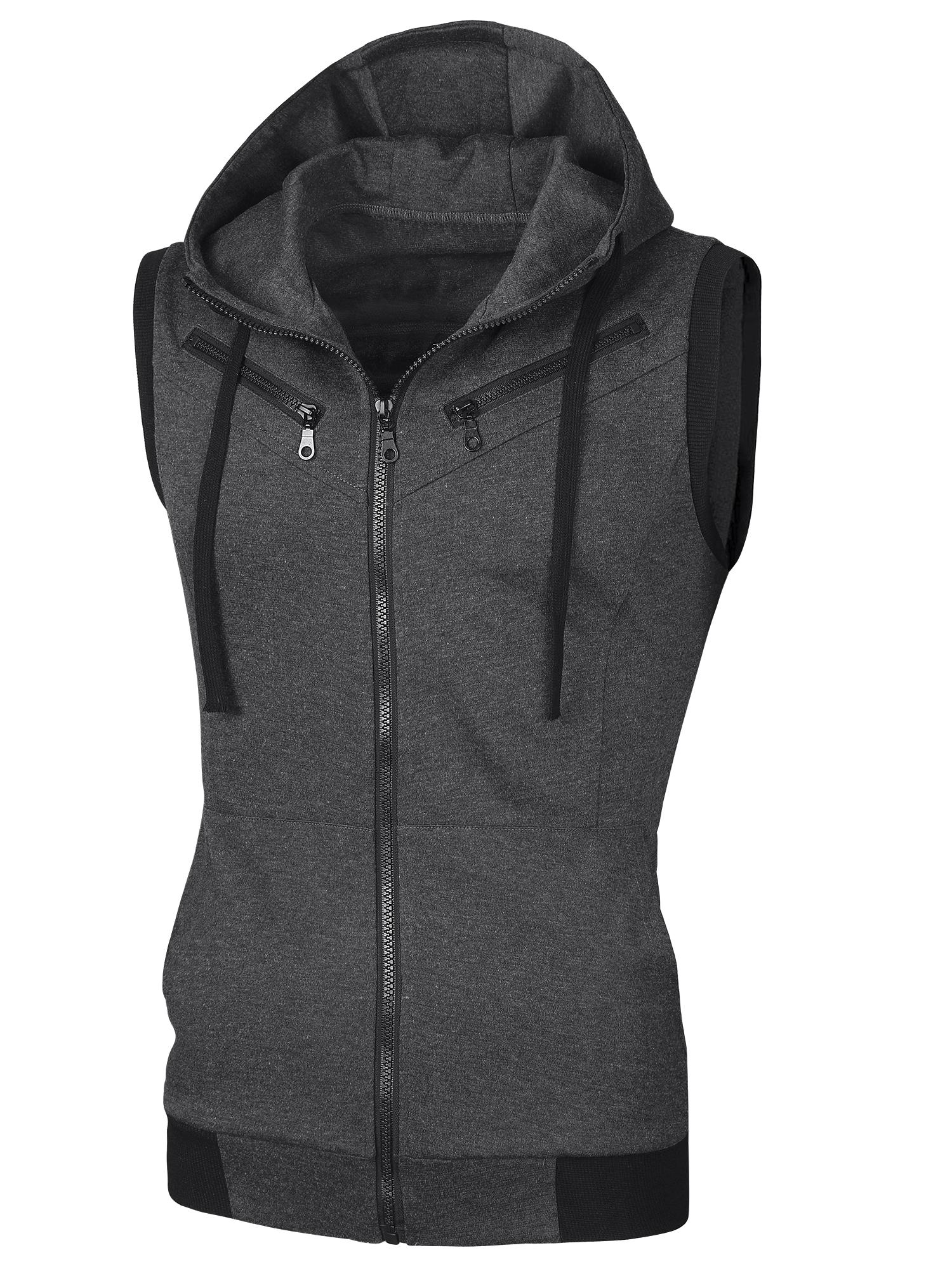 Men Full Zipper Two Pockets Drawstring Hooded Vest Dark Gray S