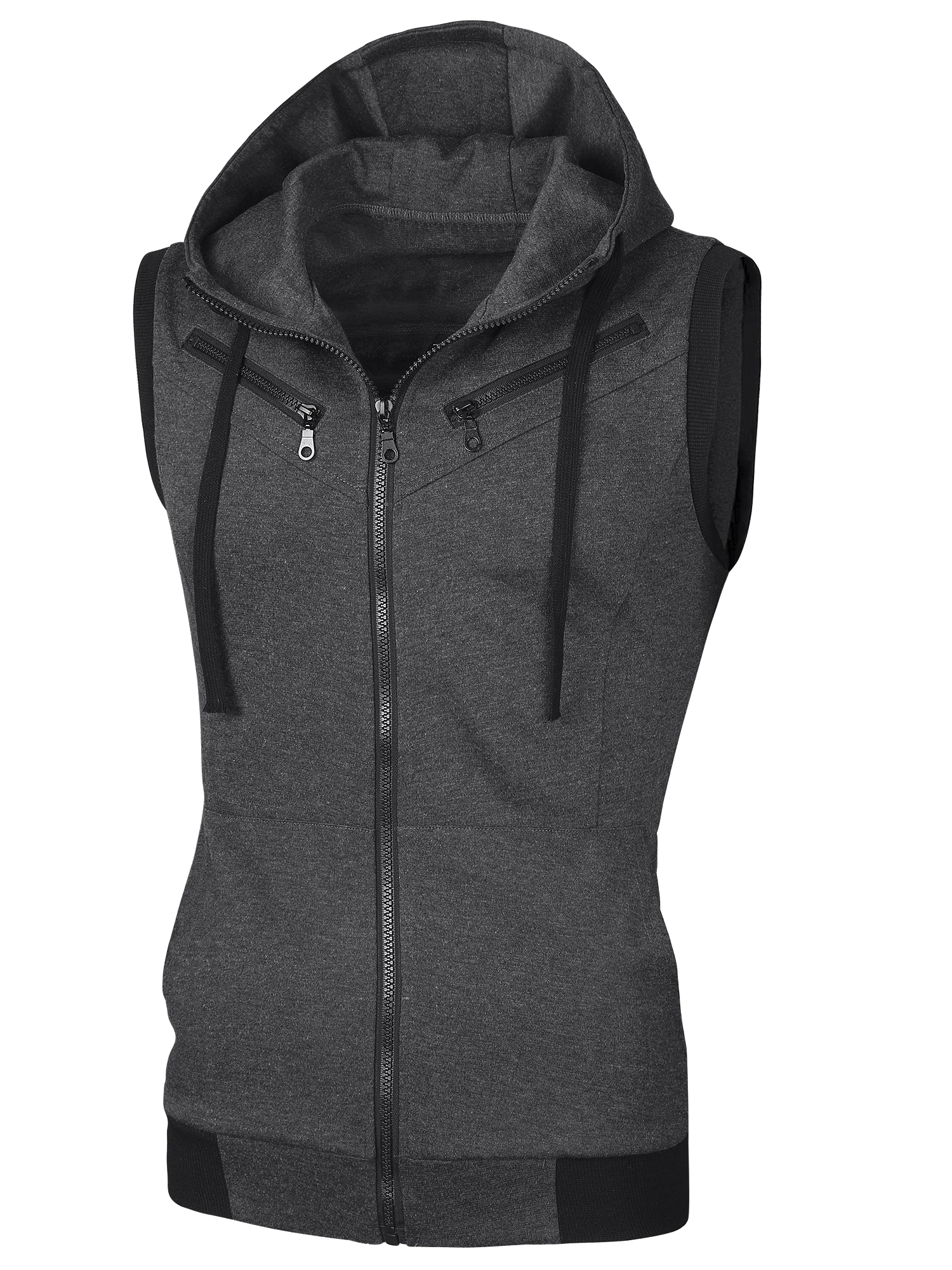 Men Ribbed Hem Drawstring Design Hoodie Vest Dark Gray L