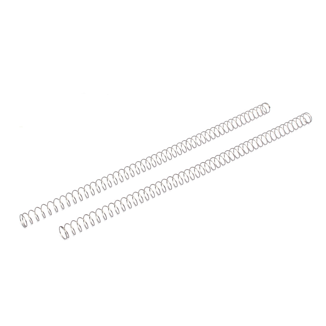0.8mmx12mmx305mm 304 Stainless Steel Compression Springs Silver Tone 2pcs