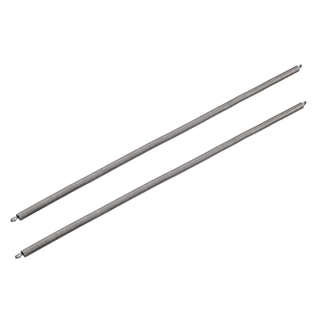 0.7mmx7mmx300mm Spring Steel Extension Tension Springs Black 2pcs