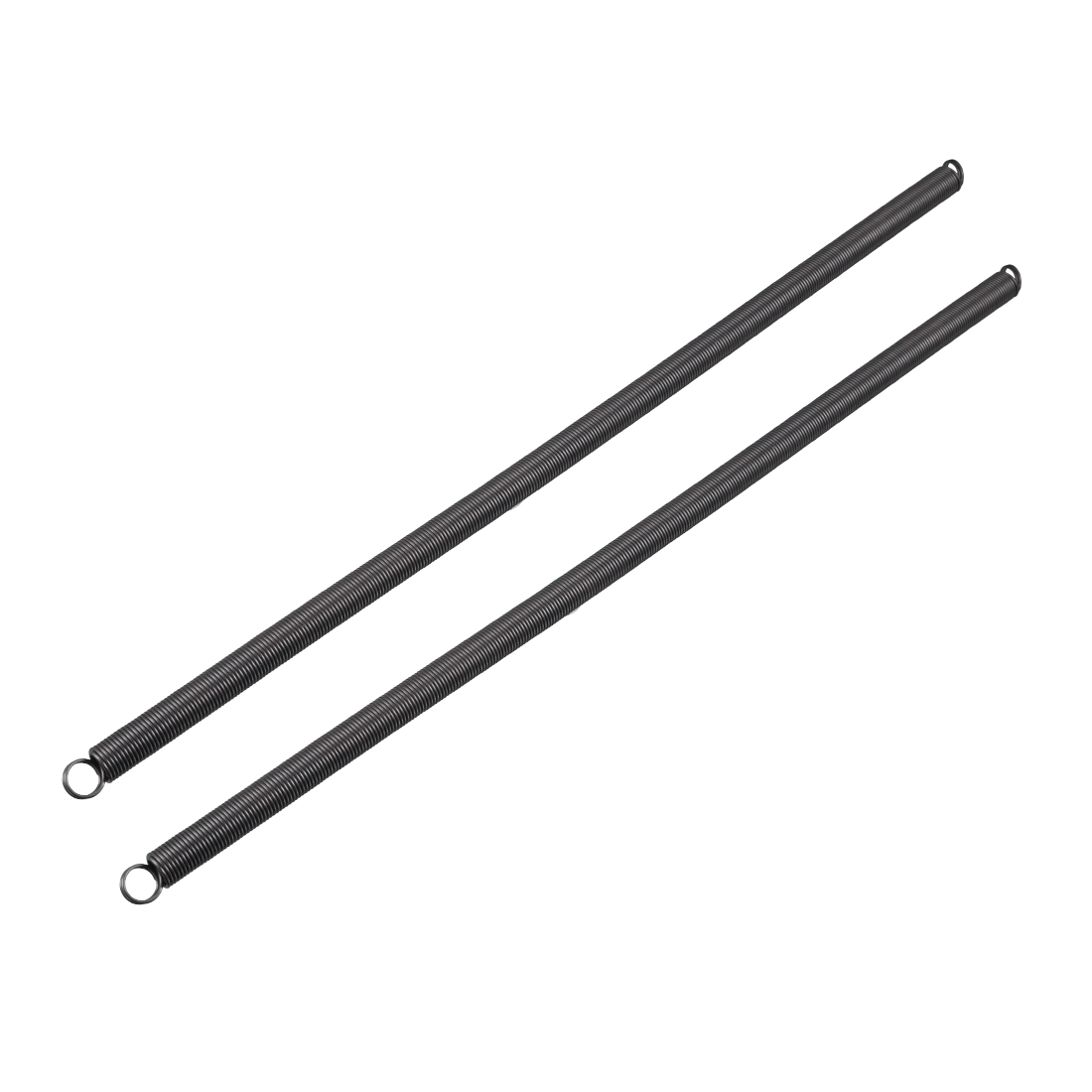 0.9mmx9mmx300mm Spring Steel Extension Tension Springs Black 2pcs