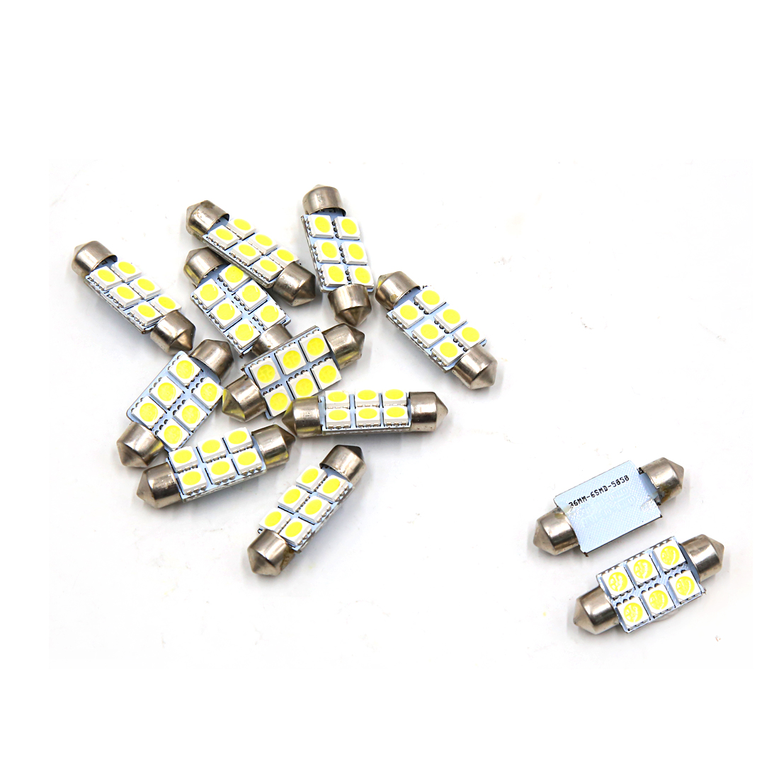 12pcs 36mm 6 LED 5050 SMD Festoon Dome Light Car Interior Bulb White DC 12V
