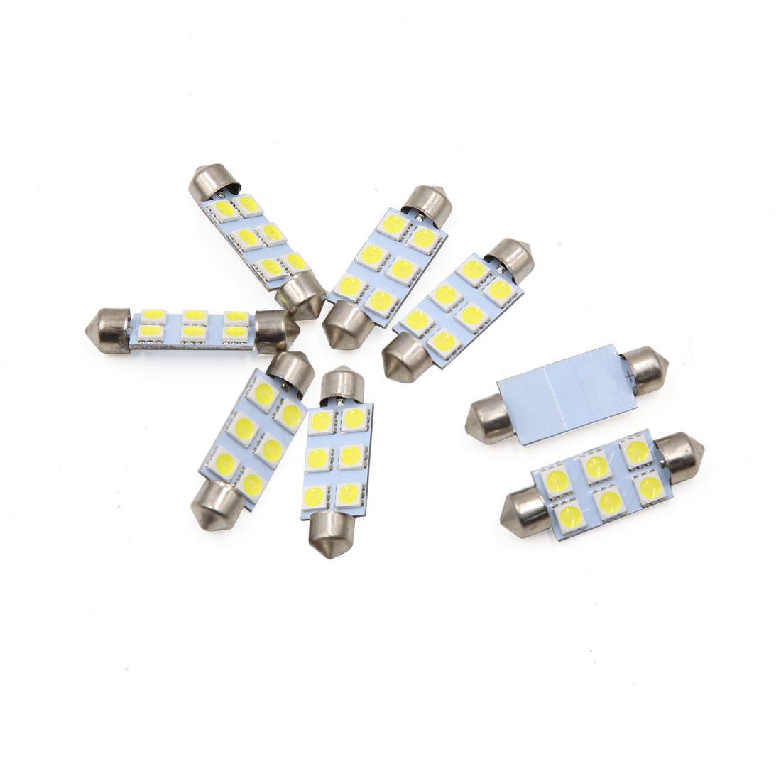 8pcs White 41mm 5050 SMD 6 LED Car Auto Festoon Dome Lights Interior Lamp Bulb