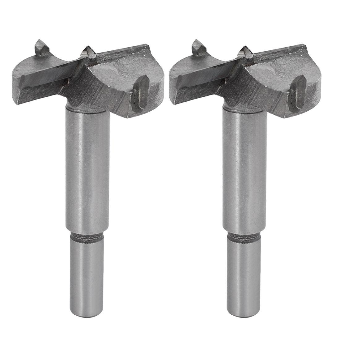 42mm Dia Carbide Tip Round Shank Wood Cutting Hole Saw Hinge Boring Bit 2pcs