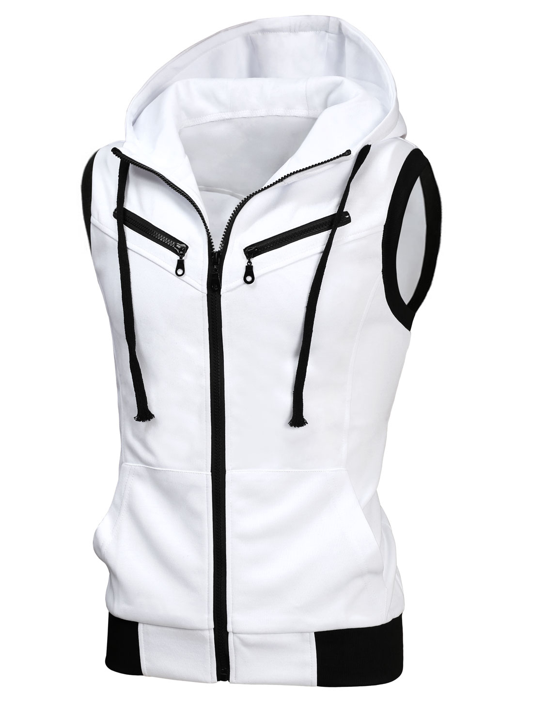 Men Full Zipper Two Pockets Drawstring Hooded Vest White S
