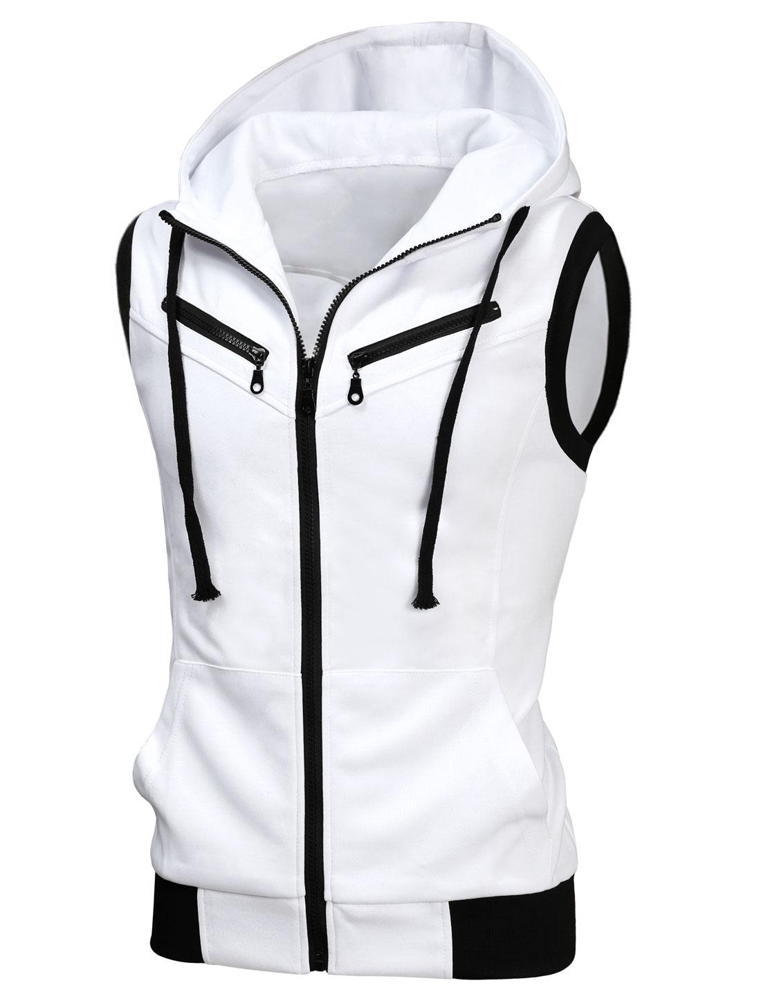 Men Ribbed Hem Two Pockets Drawstring Hooded Vest White M