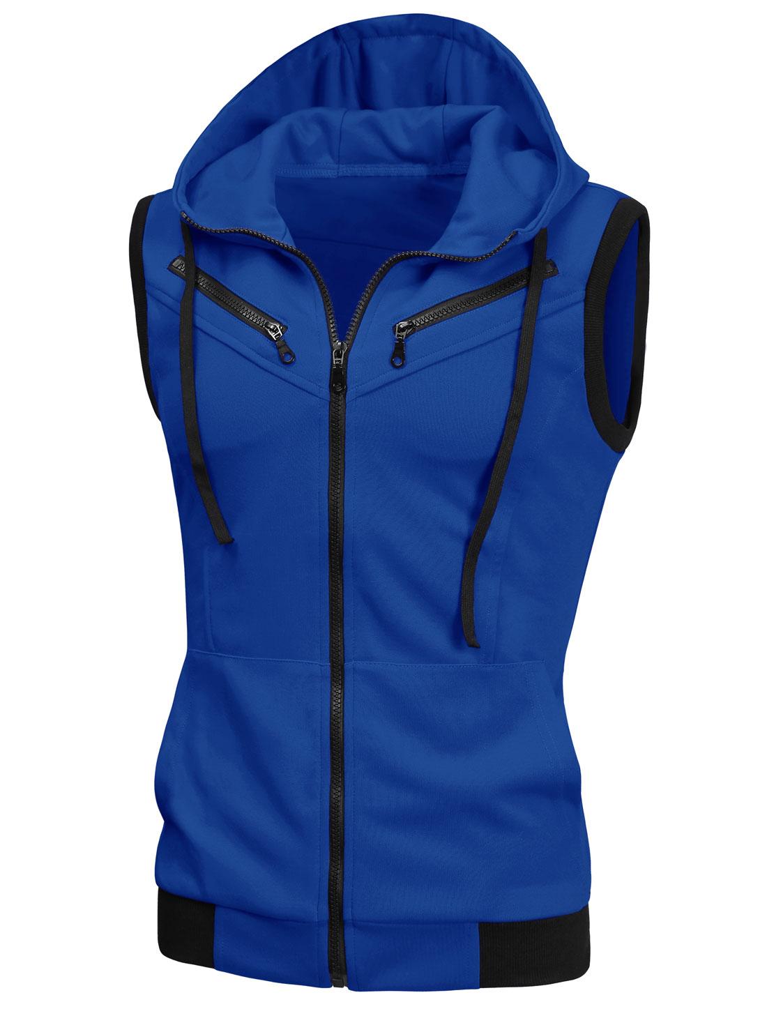 Men Chic Full Zipper Drawstring Hooded Vest Blue S