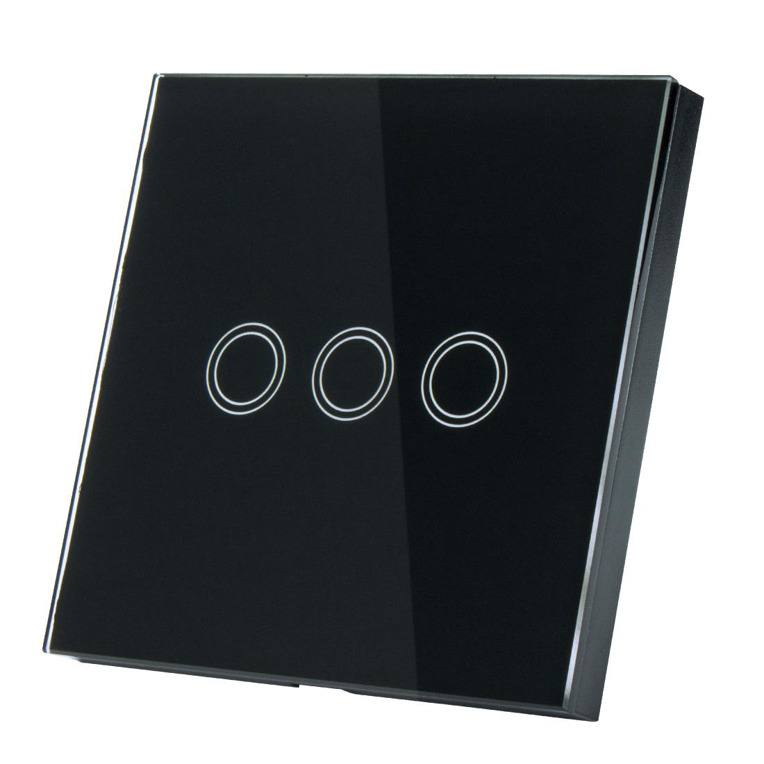 AC 110-240V 1 Way 3 Gang Glass Panel Wall Light Smart Touch Switch Black EU