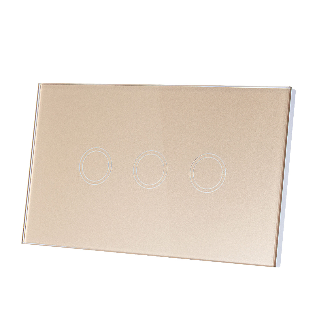 AC 110-240V 1 Way 3 Gang Panel Wall Light Smart Touch Switch US w Remote Control