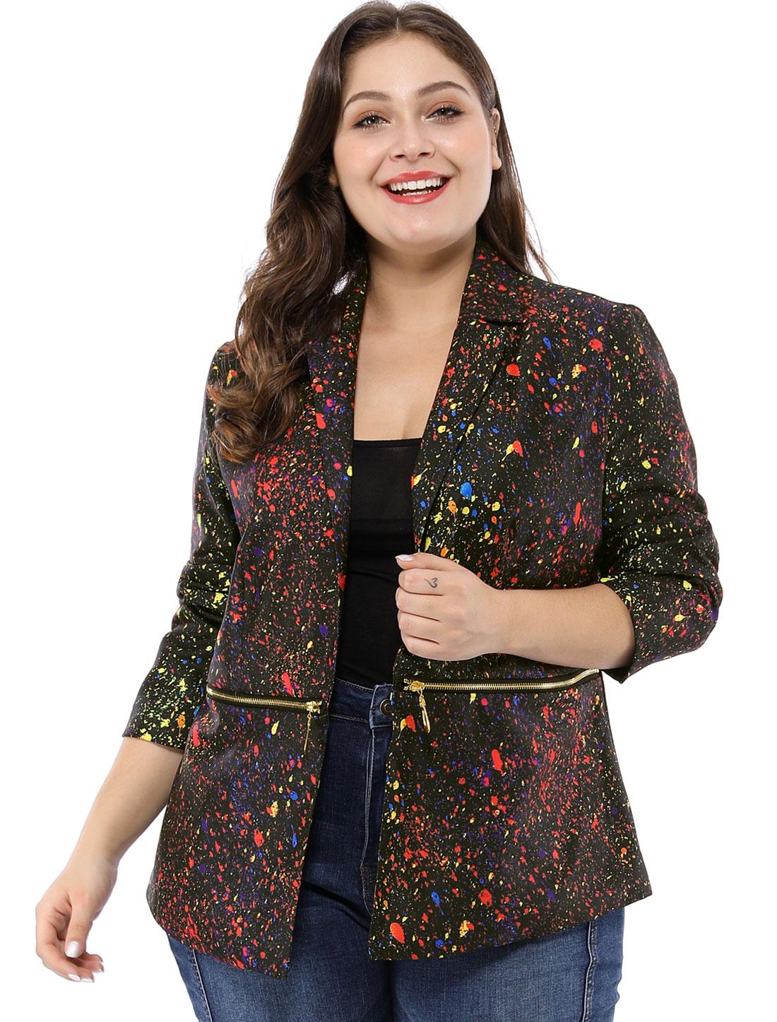 Women Plus Size Paint Splatter Print Notched Lapel Zipper Blazer Black 2X
