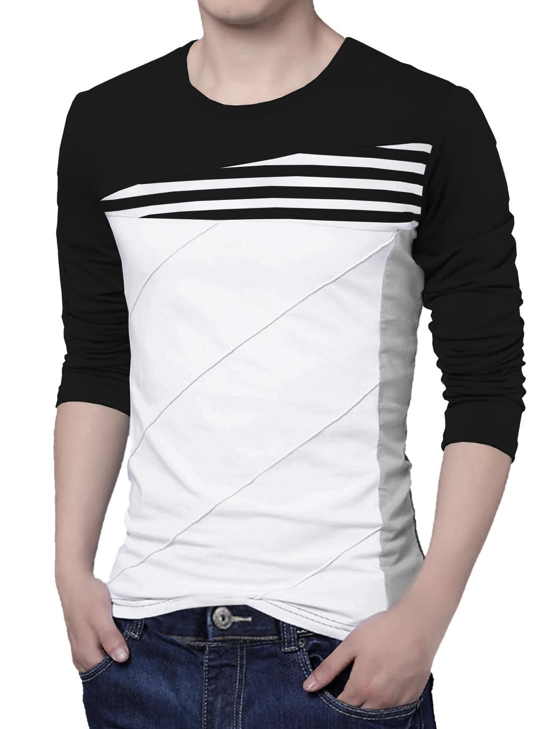 Men Long Sleeves Color Block Stripes Tee Shirt Black L