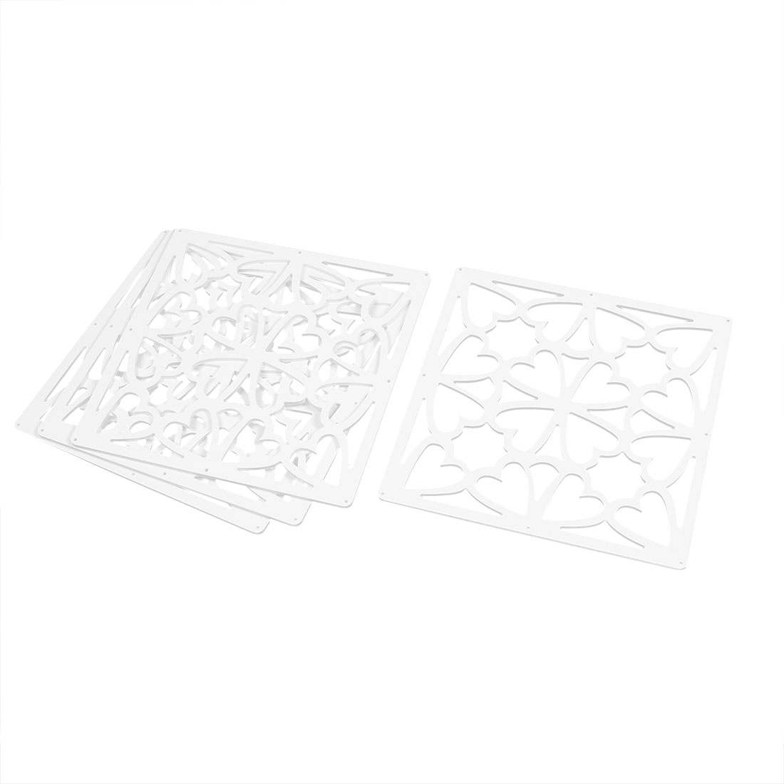 Hall Heart Pattern Carved Window Divider Hanging Screen White 29cm x 29cm 4pcs