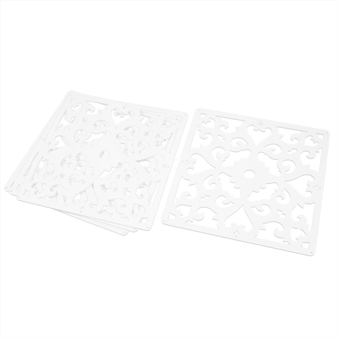Home Hall Flower Pattern Carved Window Divider Panel Hanging Screen White 4pcs