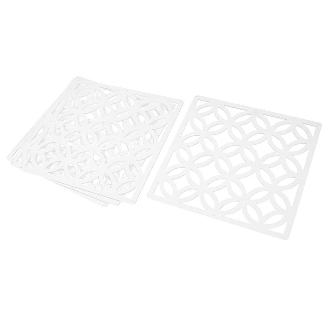 Home Wall Square Shaped Room Partition Panel Hanging Screen White 39 x 39cm 4pcs
