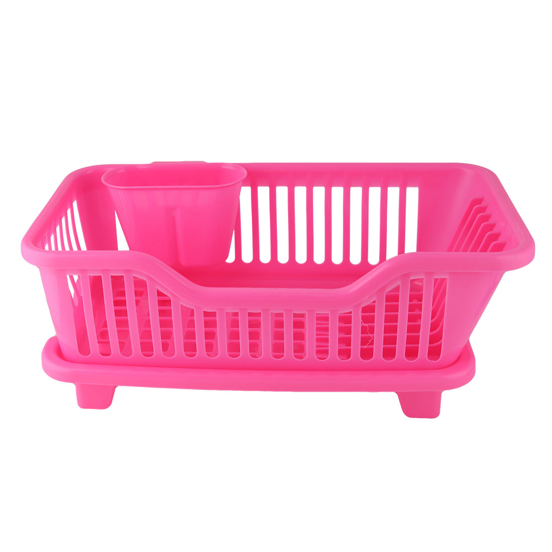 Kitchen Plastic Water Outlet Plate Bowl Chopstick Dish Draining Rack Fuchsia