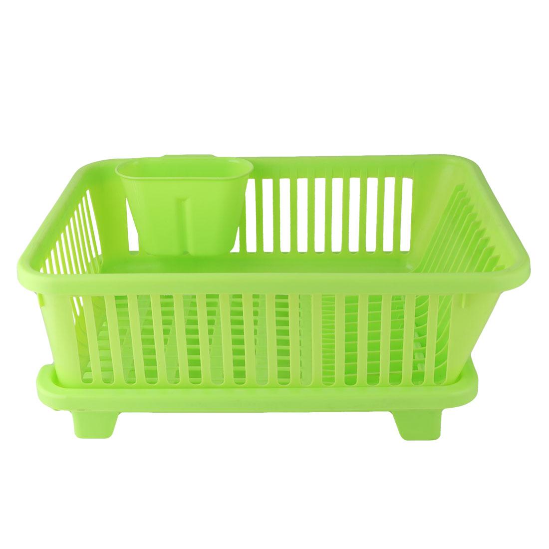 Kitchen Plastic Hollow Out Design Dish Plate Draining Storage Rack Basket Green