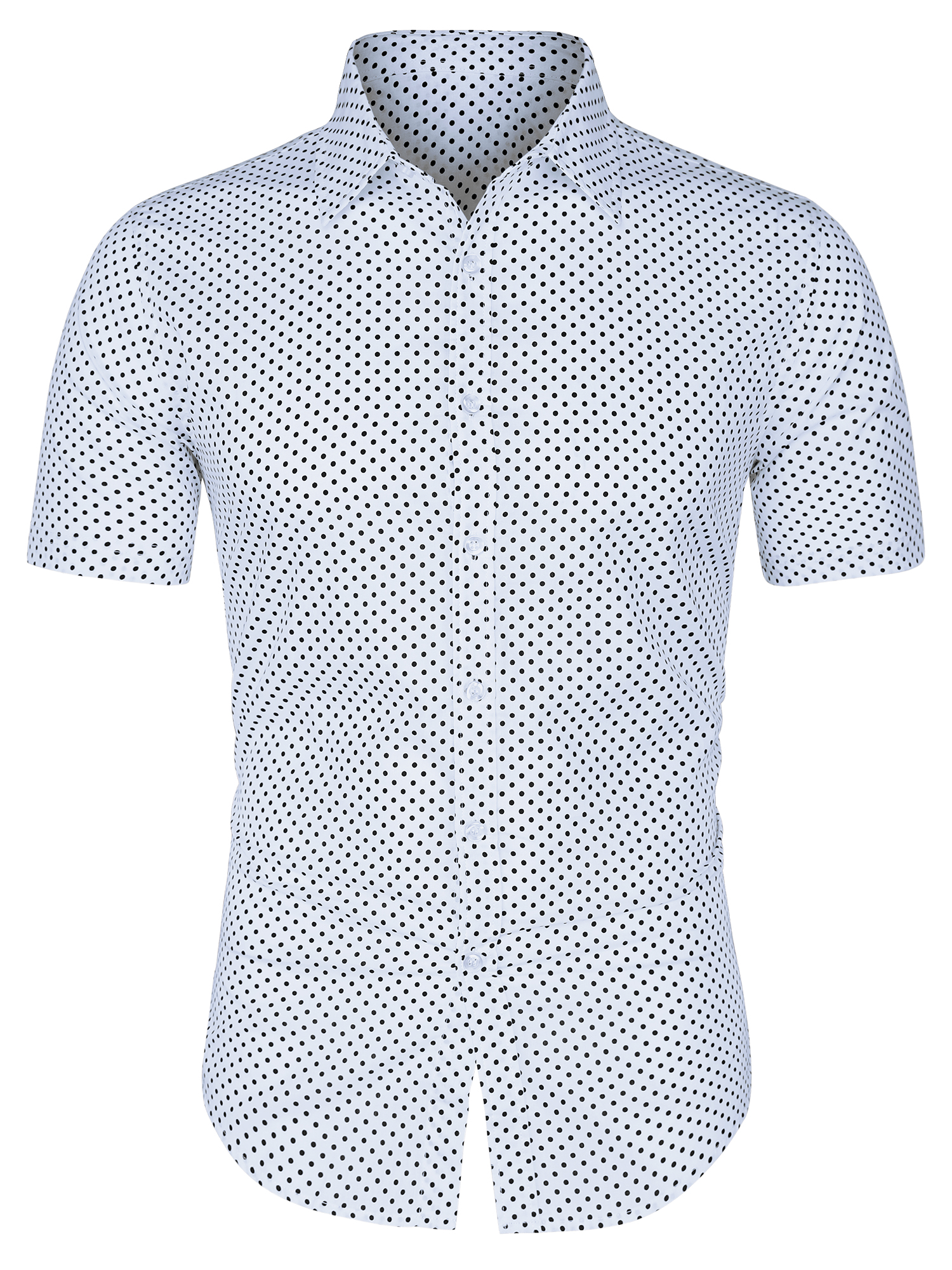 Mens Short Sleeves Button Up Cotton Polka Dots Shirt White L