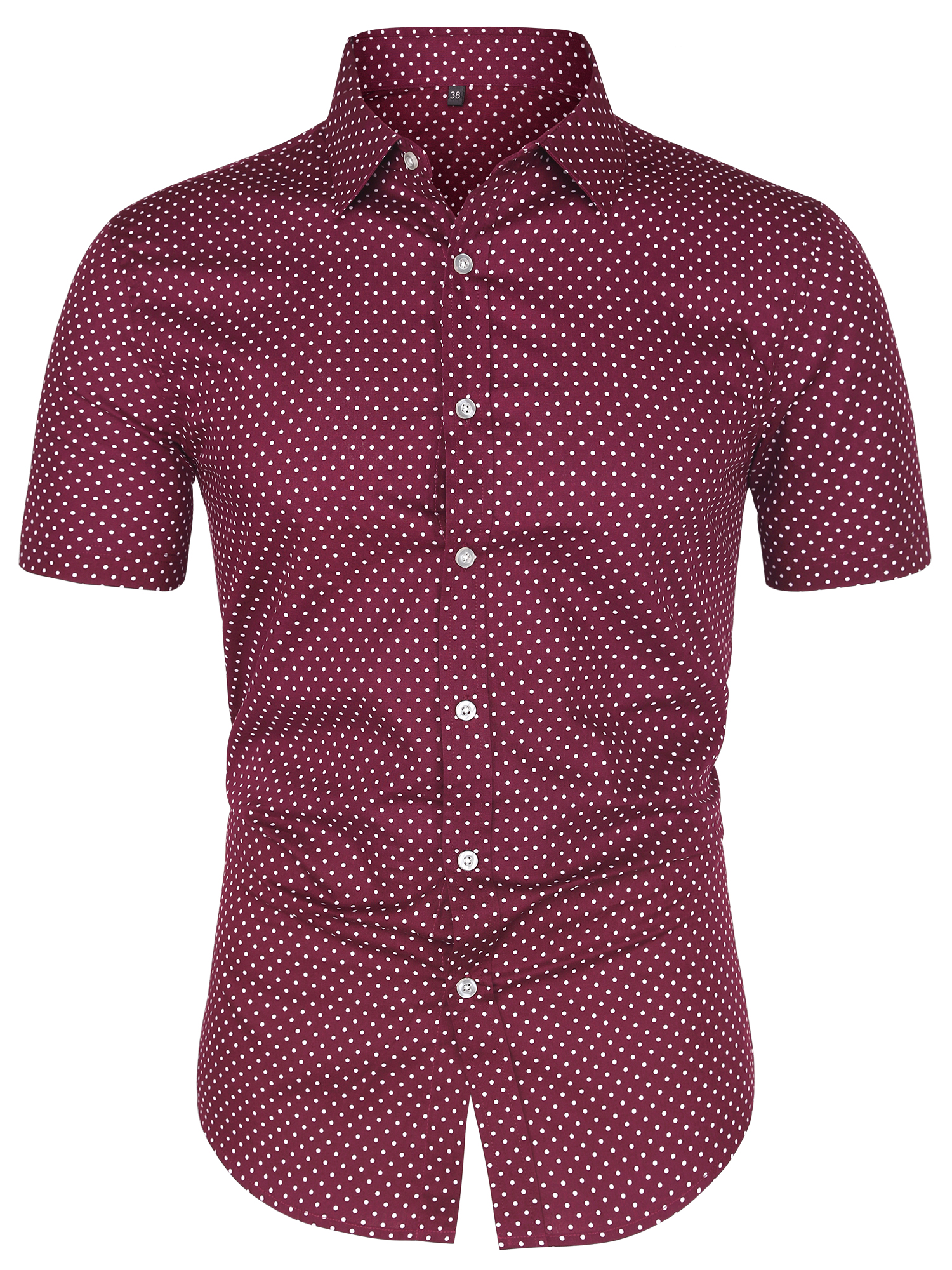 Men Short Sleeves Cotton Polka Dots Button Up Shirt Burgundy S (US 34)