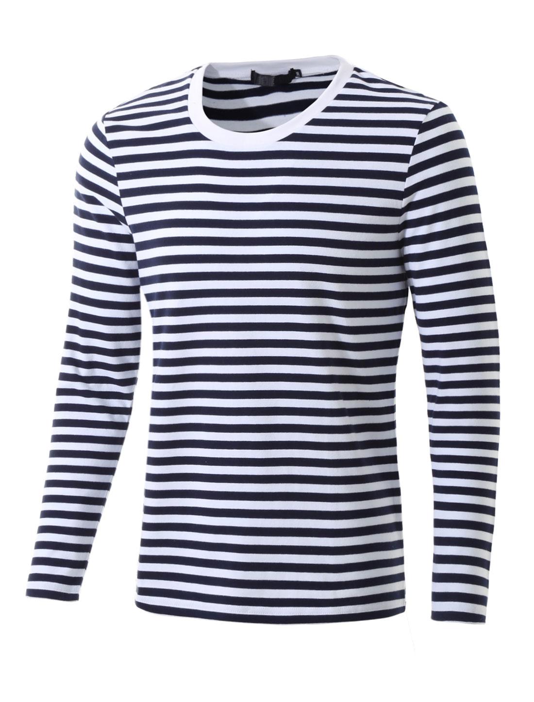 Men Crew Neck Long Sleeve Striped Tee T Shirt Navy Blue S S (US 36)