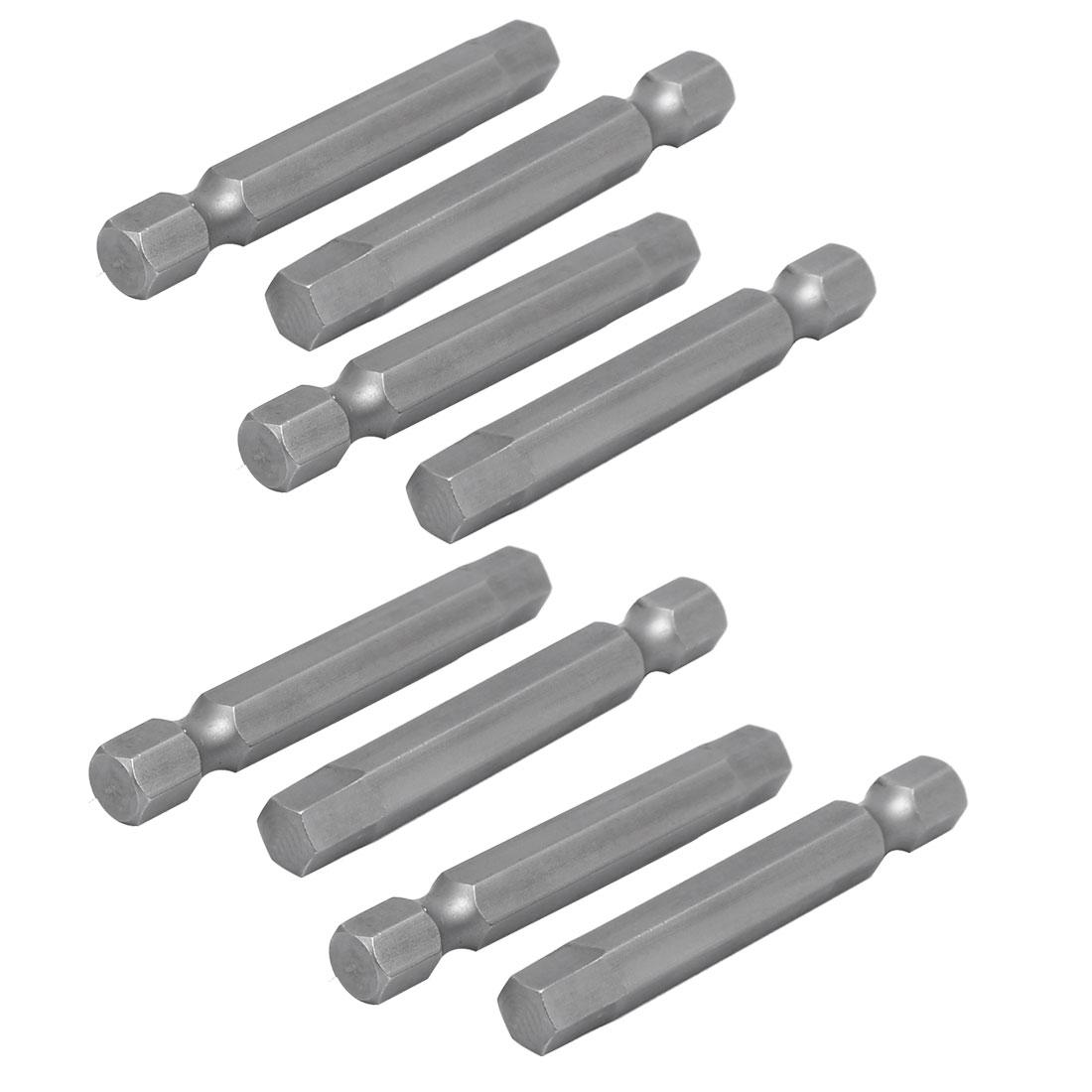 6mm Hex Shank 60mm Length 6mm Hexagon Tip Screwdriver Bits Repair Tool 8pcs