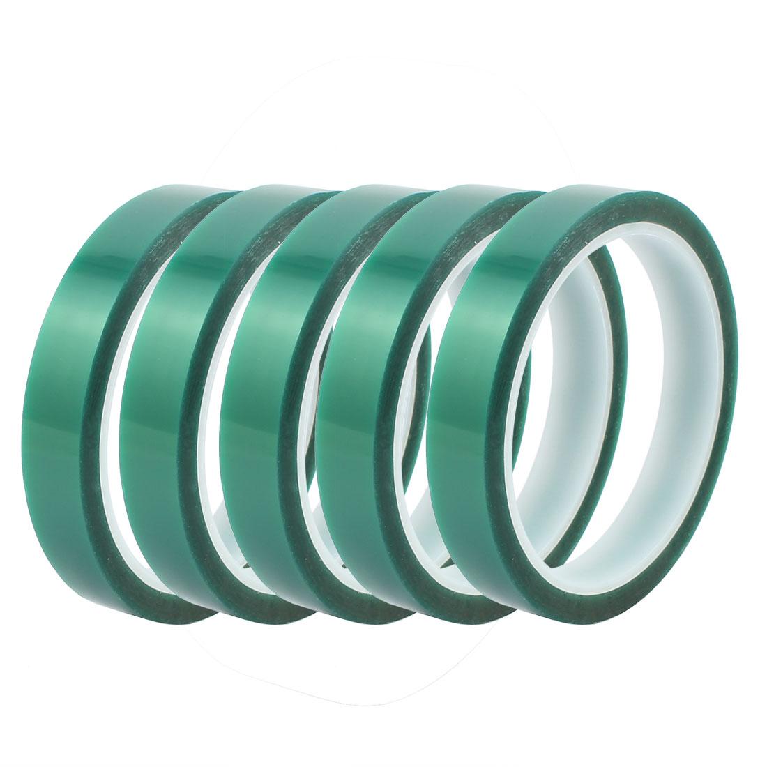 5Pcs 15mm Width 33M Length Green PET Self Adhesive Tape High Temp Heat Resistant