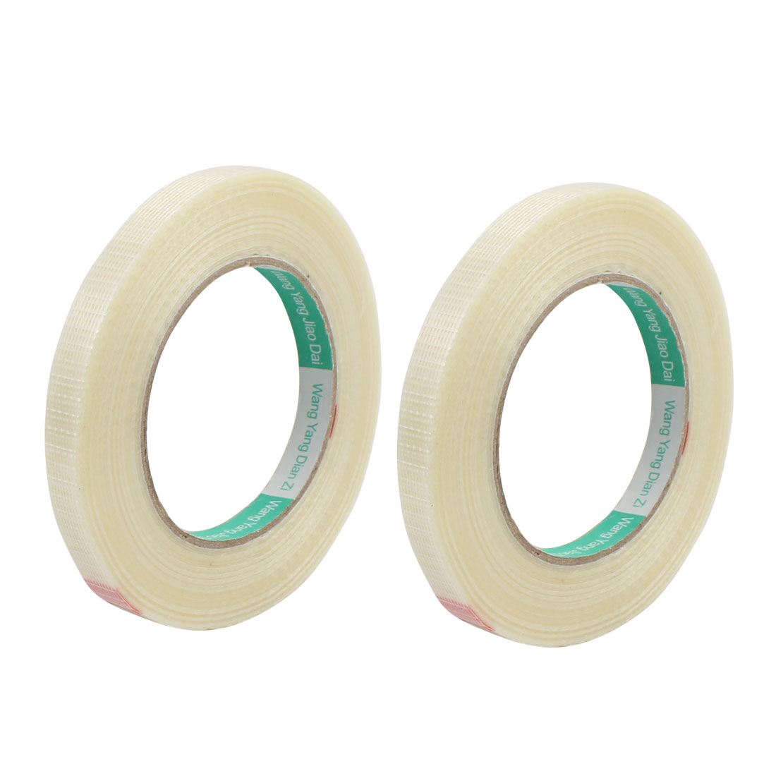 2pcs 12mm Height 50M Length Long Adhesive Insulating Grid Glass Fiber Tape Roll