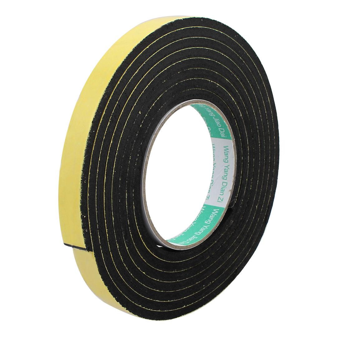 3Meter 15mm x 5mm Single-side Adhesive Shockproof Sponge Foam Tape Yellow Black