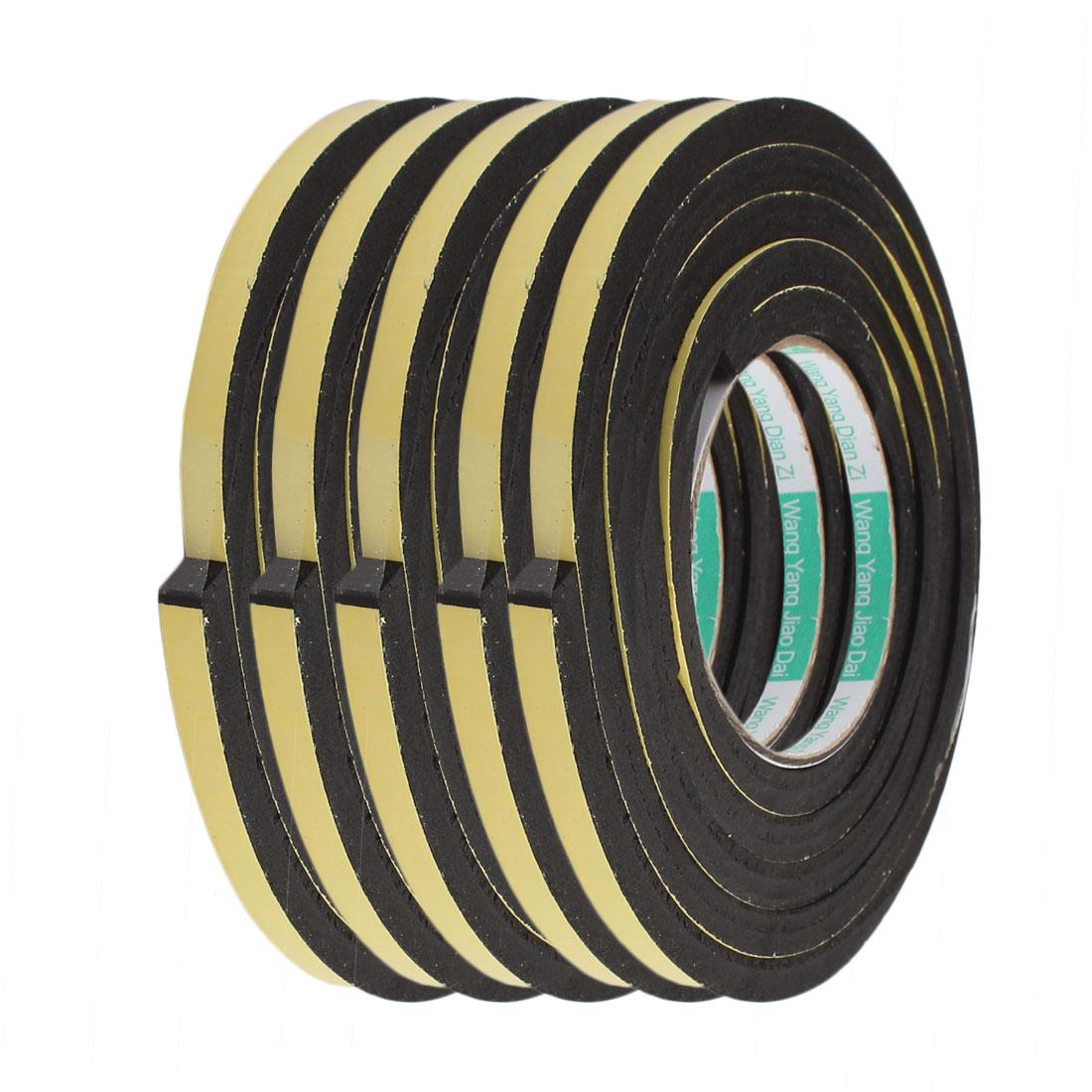 5pcs 2M 8mm x 8mm Single-side Adhesive Shockproof Sponge Foam Tape Yellow Black