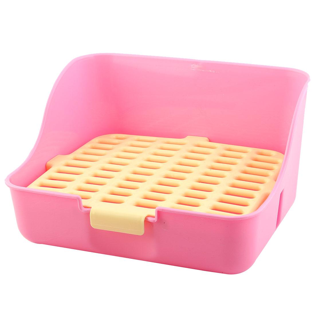 Indoor Plastic Rectangle Mesh Style Pet Rabbit Dog Cat Toilet Potty Yellow Pink