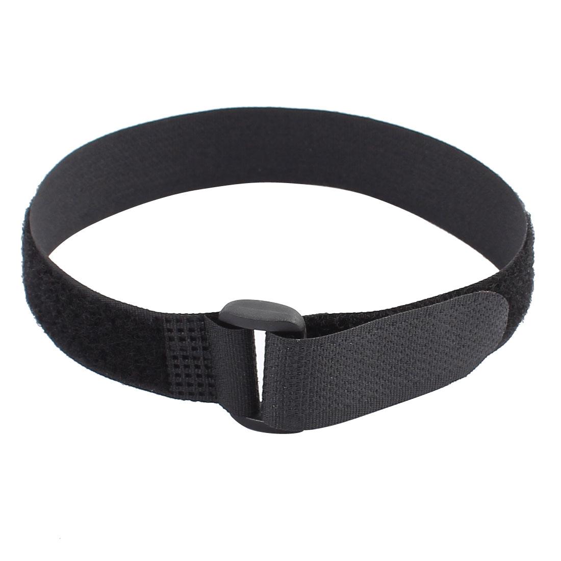 35cm Length 20mm Width Nylon Detachable Fastener Loop Tie Strap Belt Black