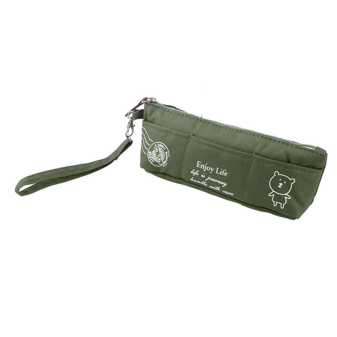 Painter School Students Nylon Bear Pattern Zipper Stationery Pencil Pen Bag Army Green