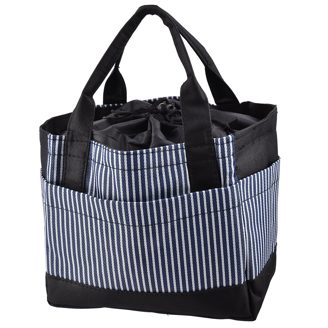 Travel Oxford Fabric Stripe Pattern Rectangle Warmer Cooler Pouch Bag Dark Blue