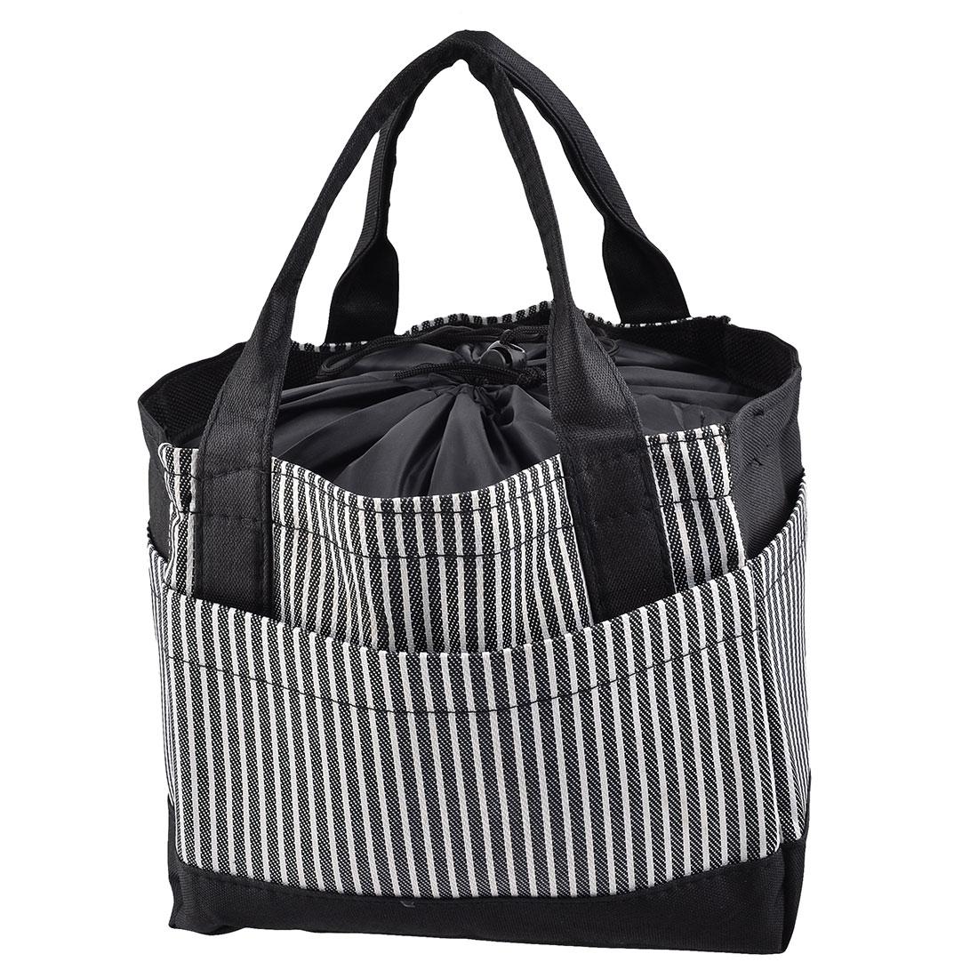 Travel Oxford Fabric Stripe Pattern Rectangle Dinner Warmer Cooler Bag Black