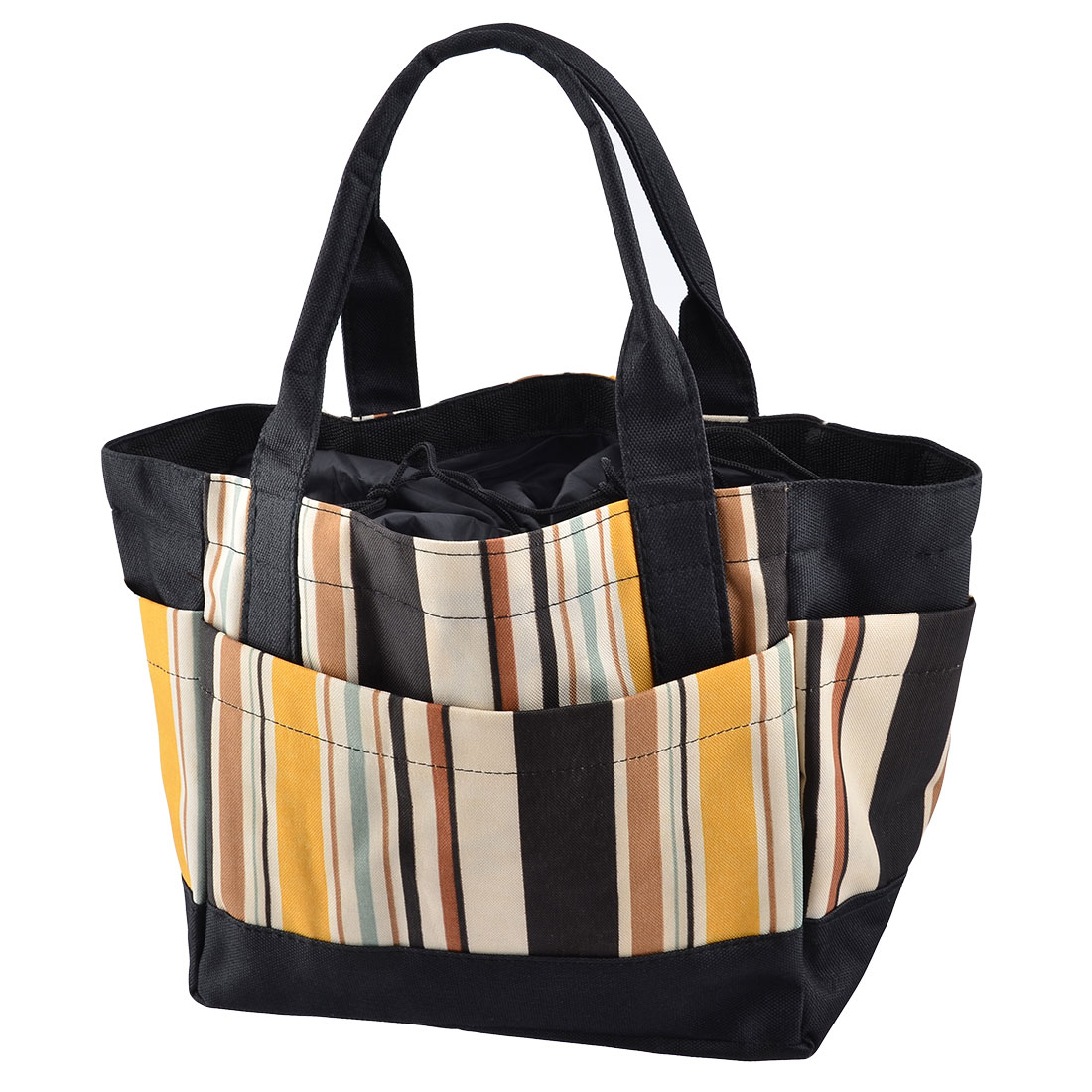Picnic Oxford Fabric Stripe Pattern Drawstring Closure Water Cooler Pouch Bag