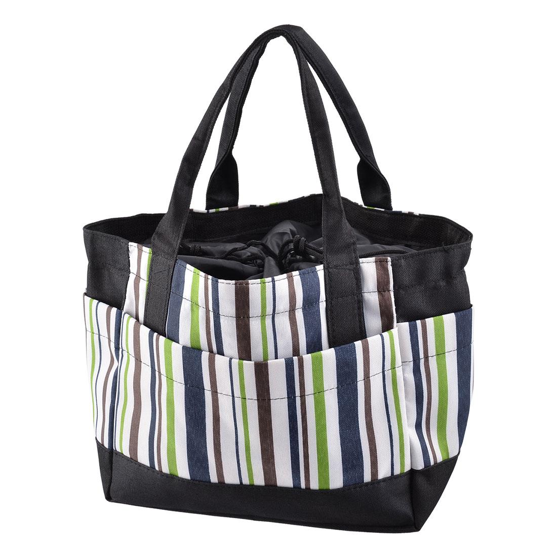 Sport Hiking Oxford Fabric Stripe Print Drawstring Closure Cooler Pouch Bag
