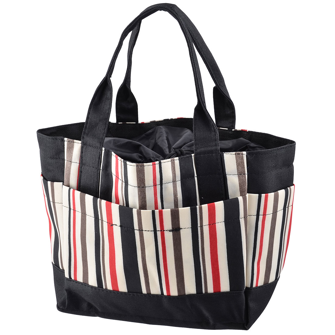 Camping Hiking Oxford Fabric Stripe Print Drawstring Closure Brunch Cooler Bag