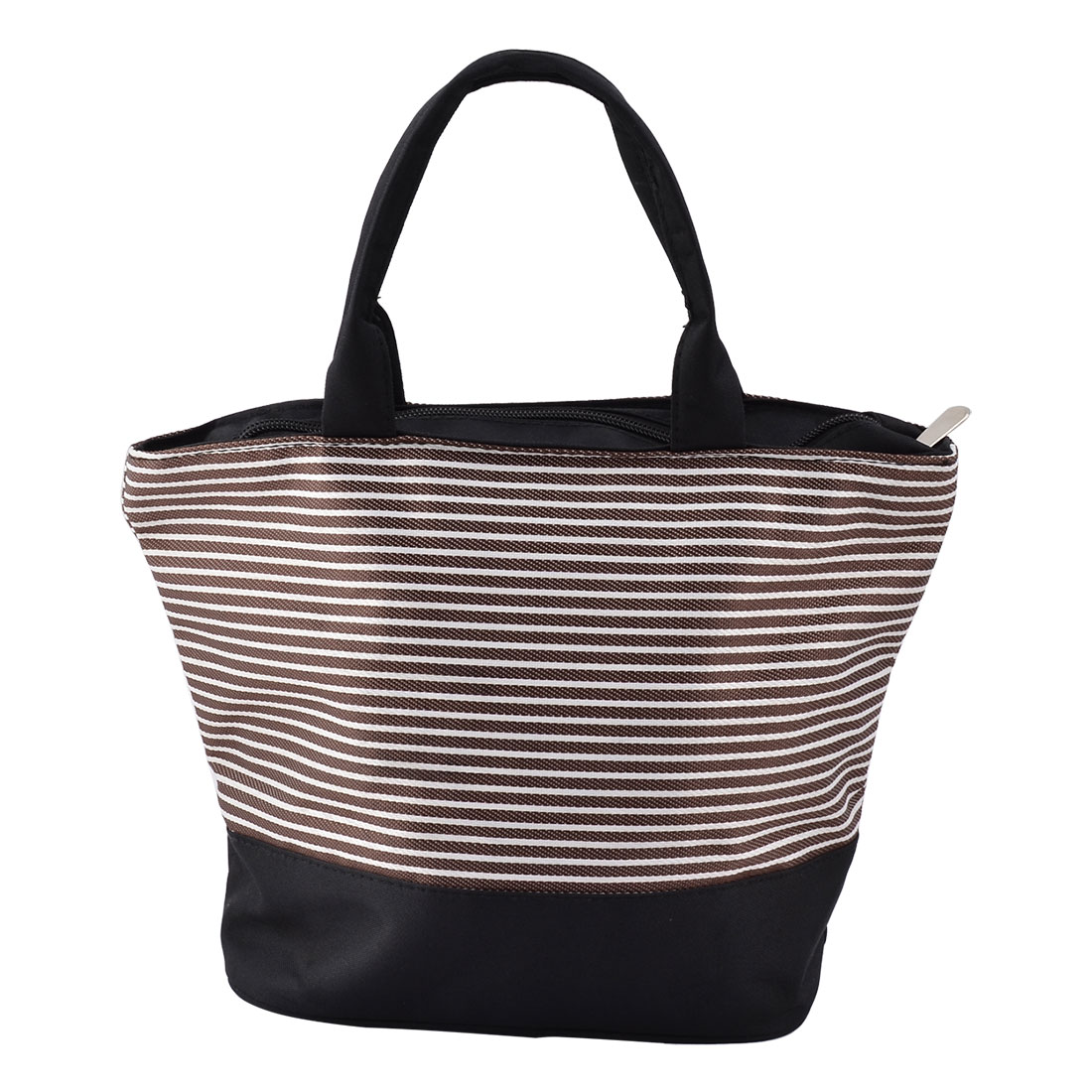Picnic Oxford Fabric Stripe Print Rectangle Shaped Cooler Tote Bag Coffee Color