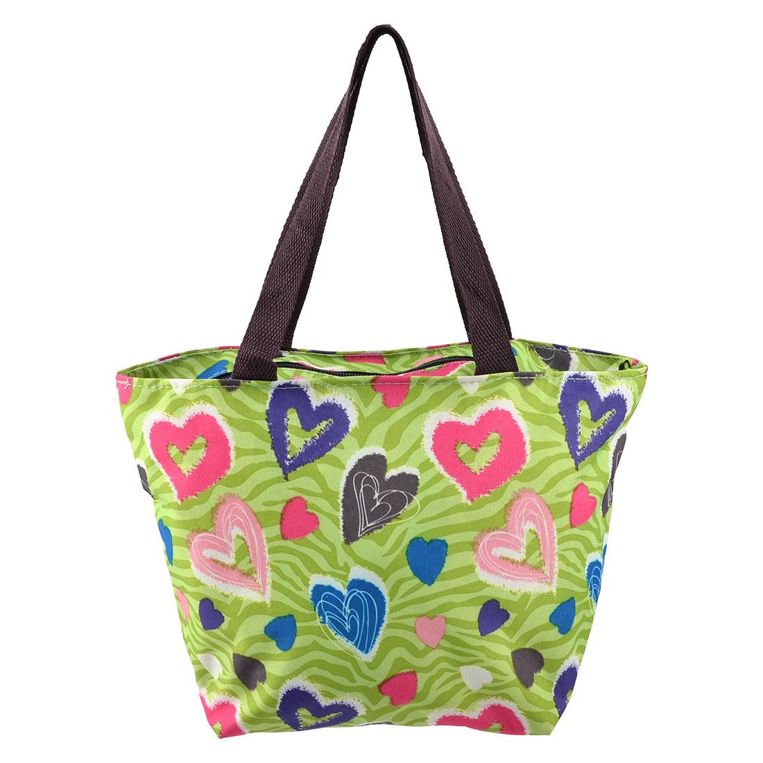 Outdoor Activity Polyester Heart Print Zipper Closure Lunch Cooler Pouch Bag