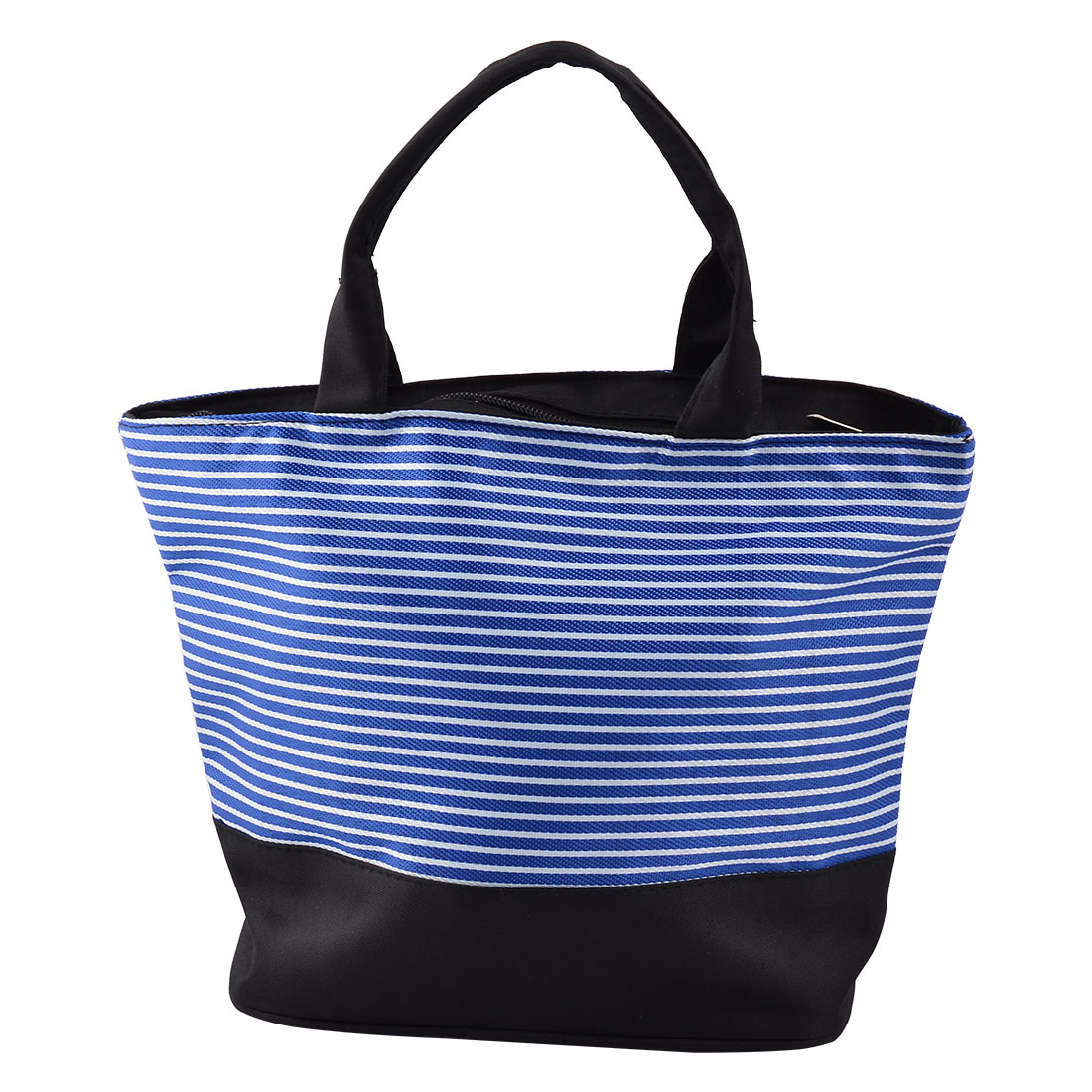 Picnic Oxford Fabric Stripe Print Rectangle Shaped Lunch Cooler Tote Bag Blue