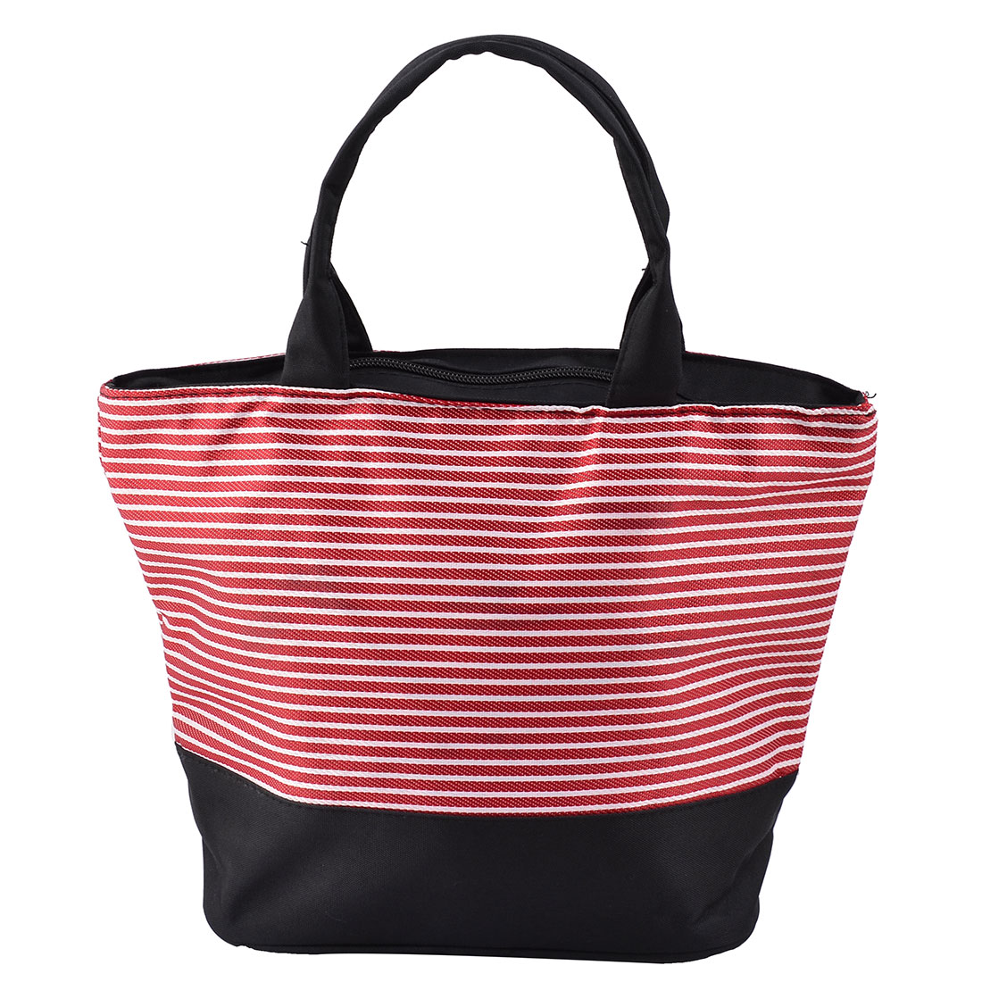 Picnic Oxford Fabric Stripe Print Rectangle Shaped Lunch Cooler Tote Bag Red