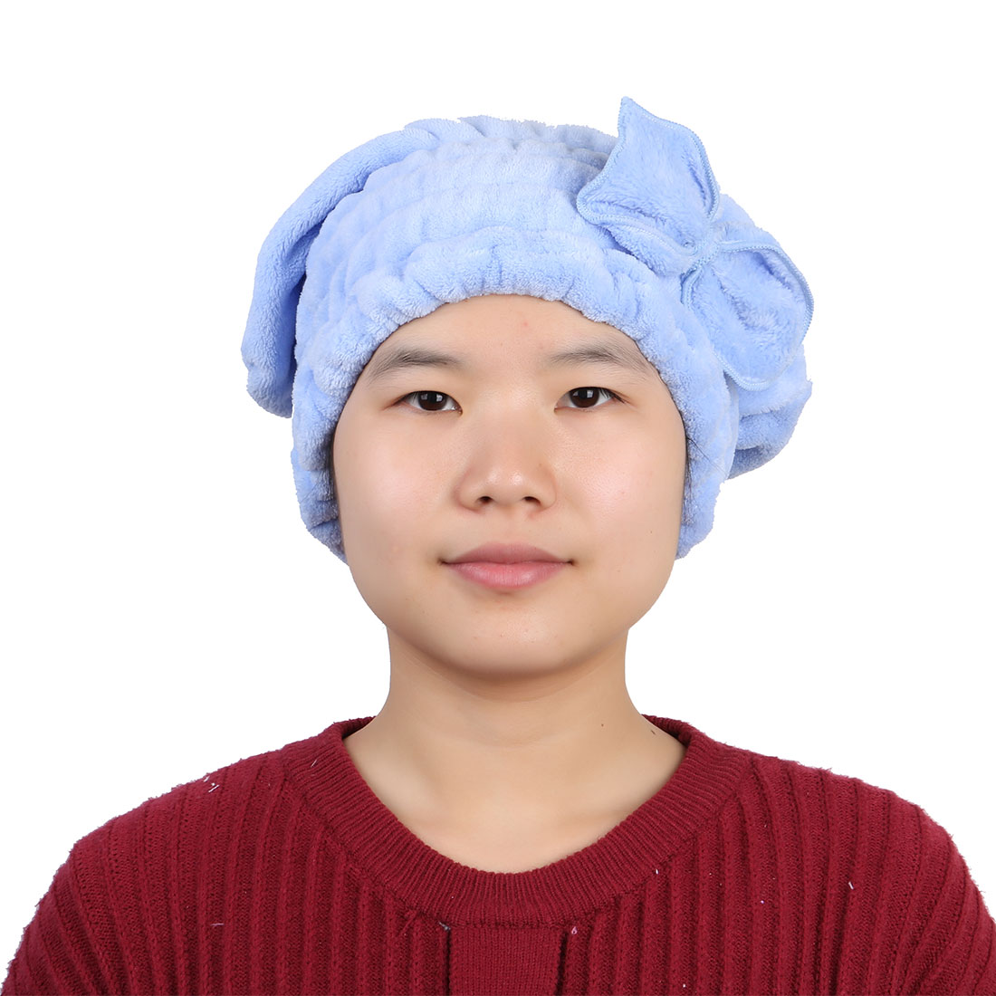 Bathroom Coral Fleece Butterfly Knot Elastic Band Drying Towel Dry Hair Cap Blue