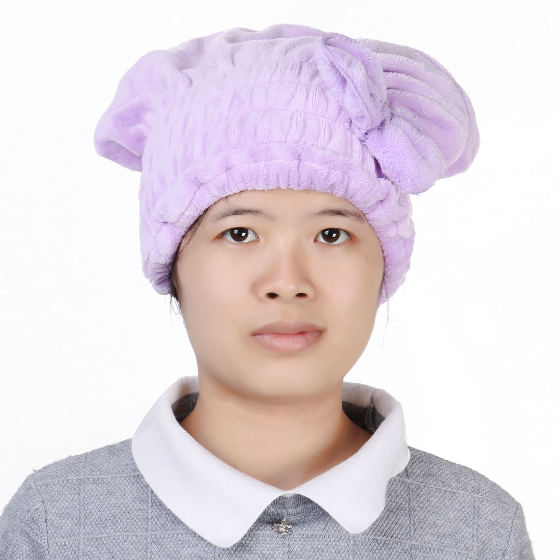 Coral Fleece Butterfly Knot Elastic Band Drying Towel Dry Hair Cap Purple