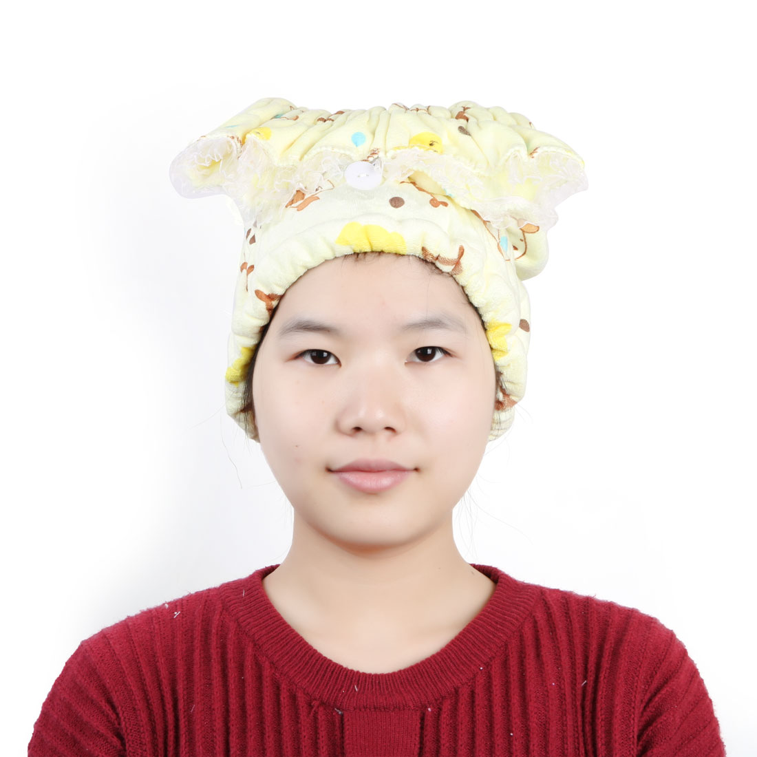 Women Microfiber Dog Pattern Elastic Bathing Hair Wrap Dry Cap Hat Towel Yellow